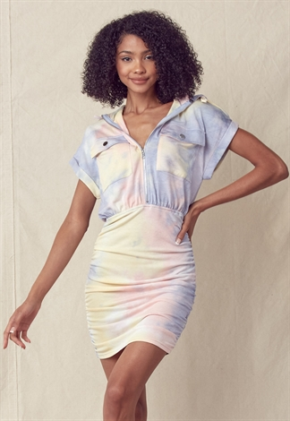 Tie Dye Hoodie Mini Dress