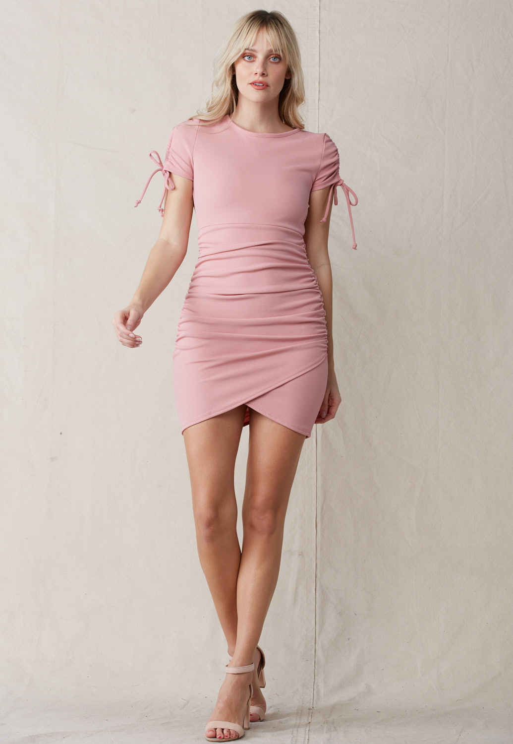 Ruched Drawstring Open Back Dress
