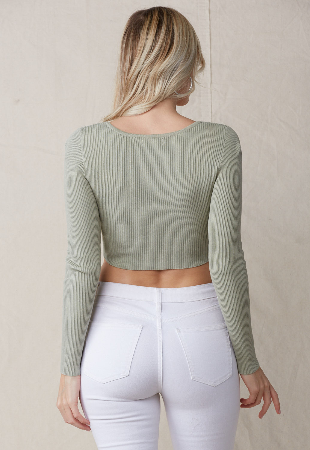 Deep V-Neck Long Sleeve Crop Top