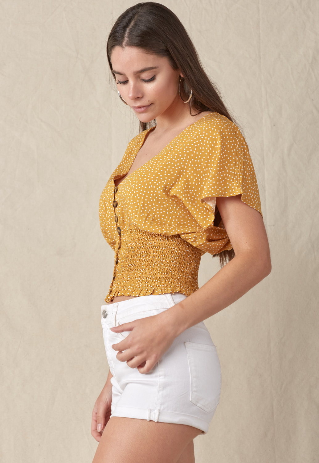 Dot-Print Smocked Waist Top