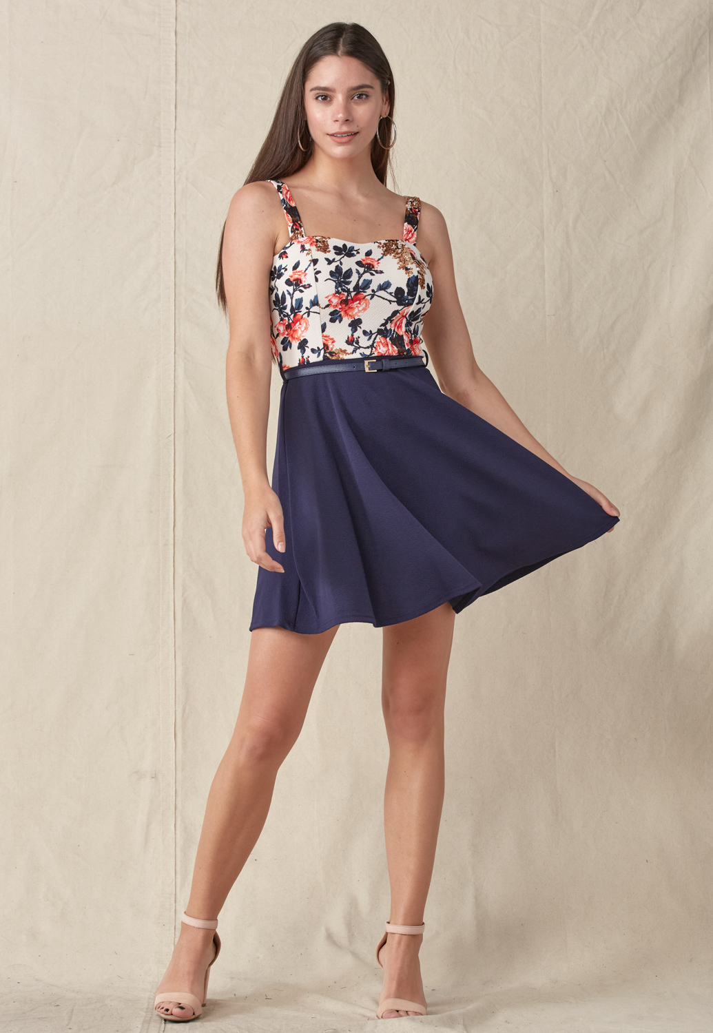 Belted Floral Mini Dress