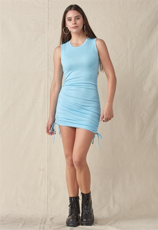 Ruched Drawstring Mini Dress