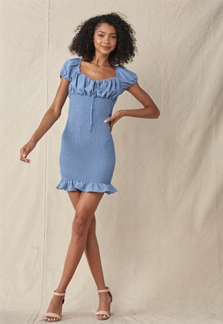 Smocked Ruffle Trim Mini Dress