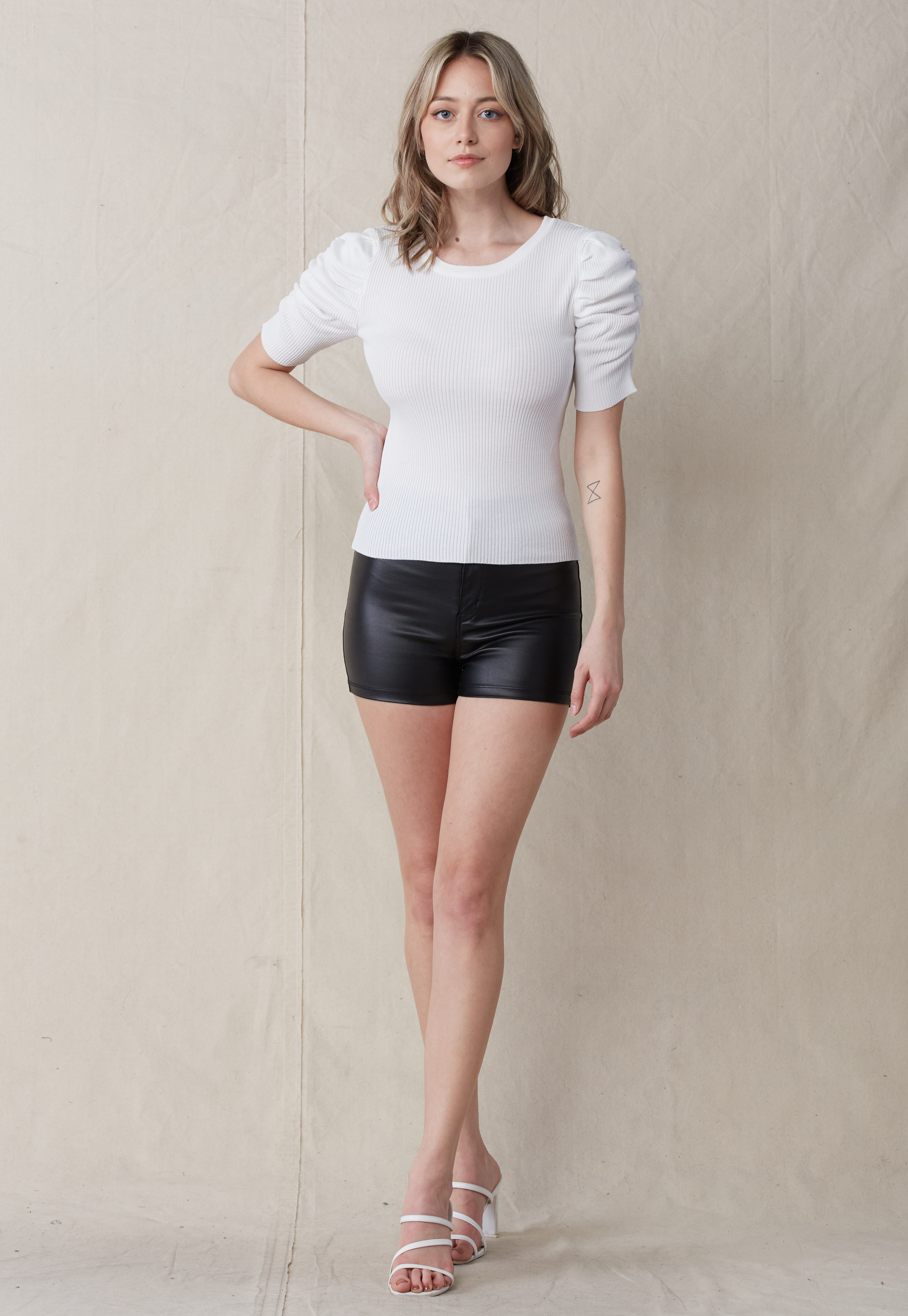 Round Neck Rib-Knit Top