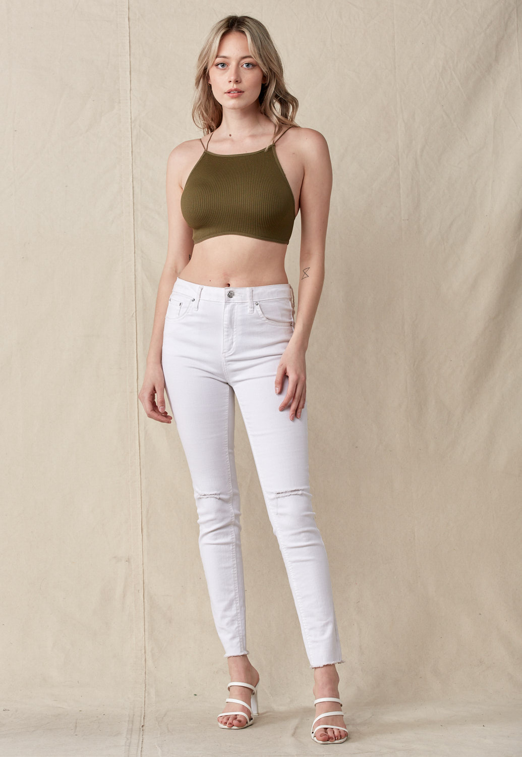 Open Tie Back Ribbed Knit Crop Top