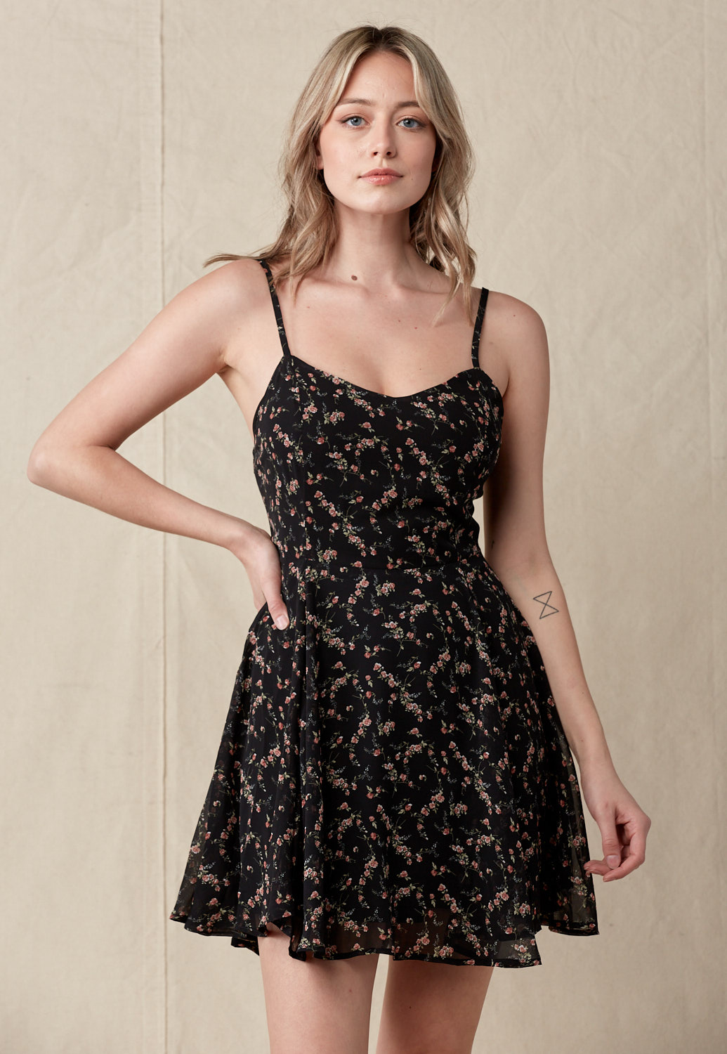 Floral Tie-Back Mini Dress