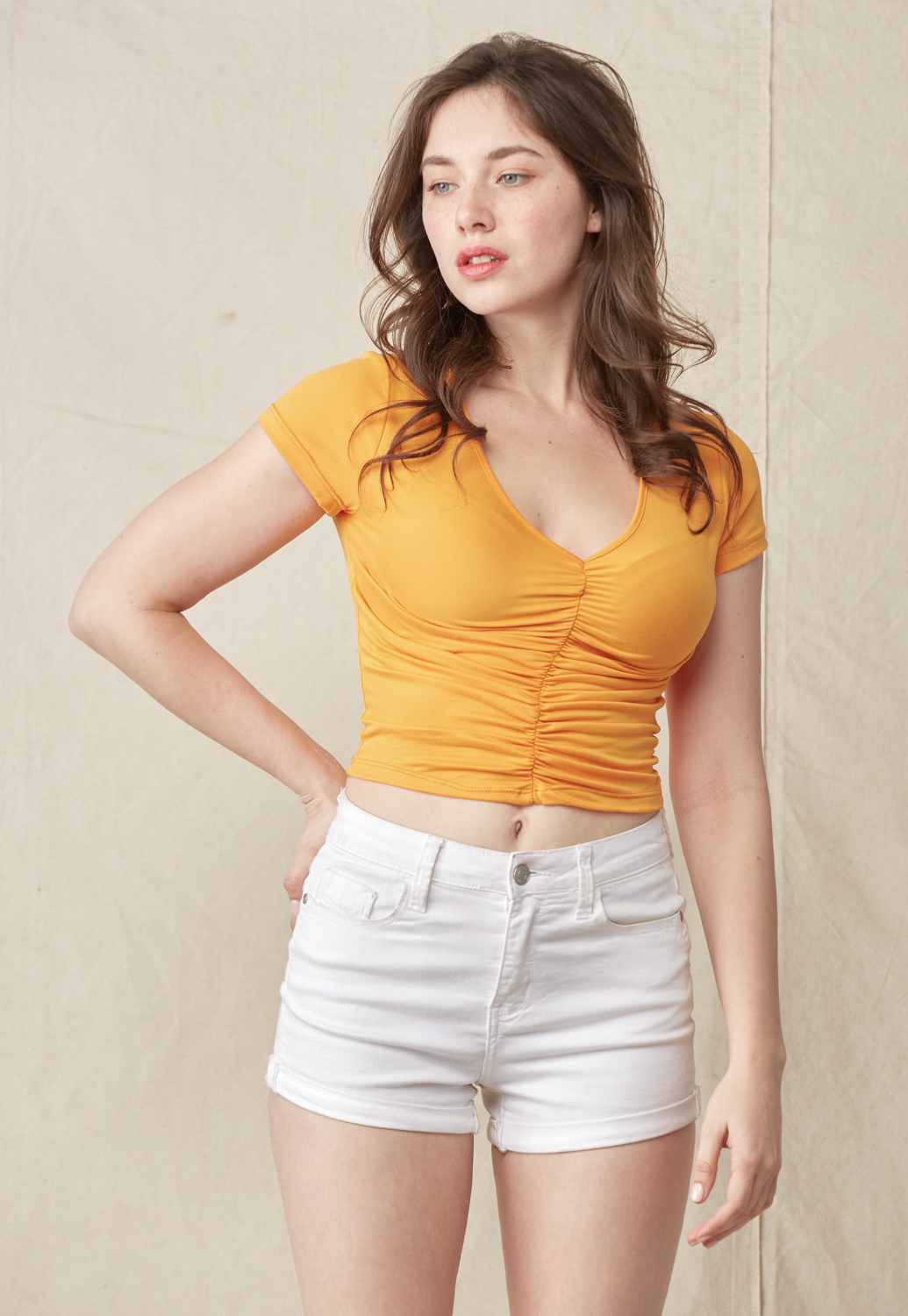 Ruched Short Sleeve Crop Top