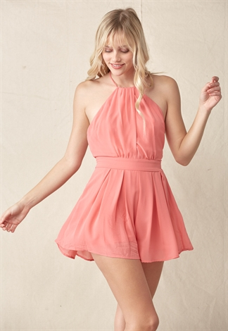 Halter Tied Open Back Romper