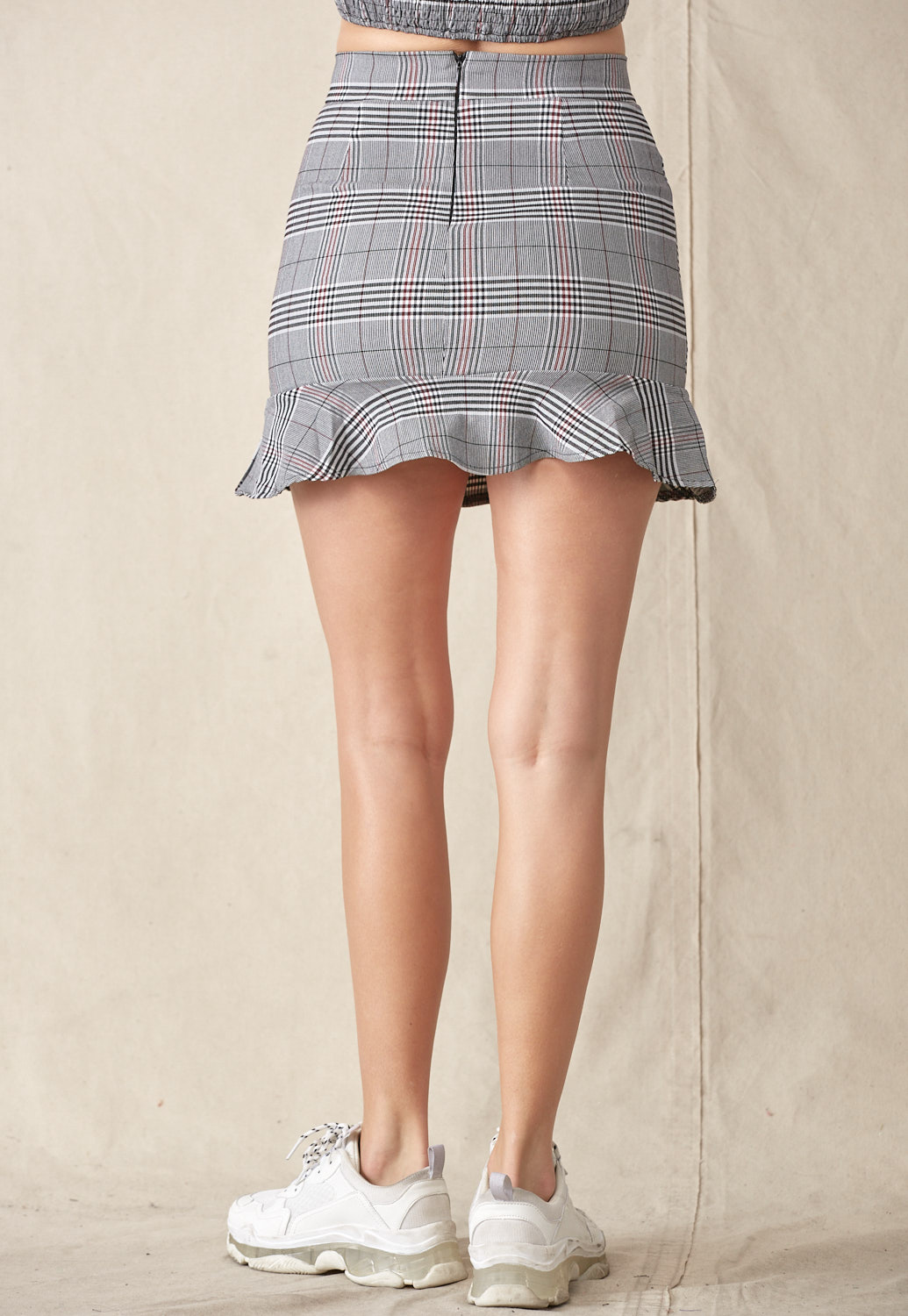 Plaid Ruffle Detail Mini Skirt
