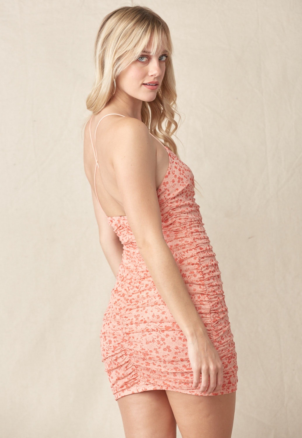 Ruched Floral Cami Mini Dress