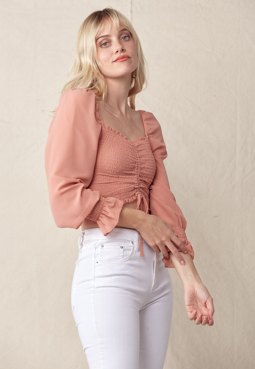 Ruched Smocked Crop Blouse
