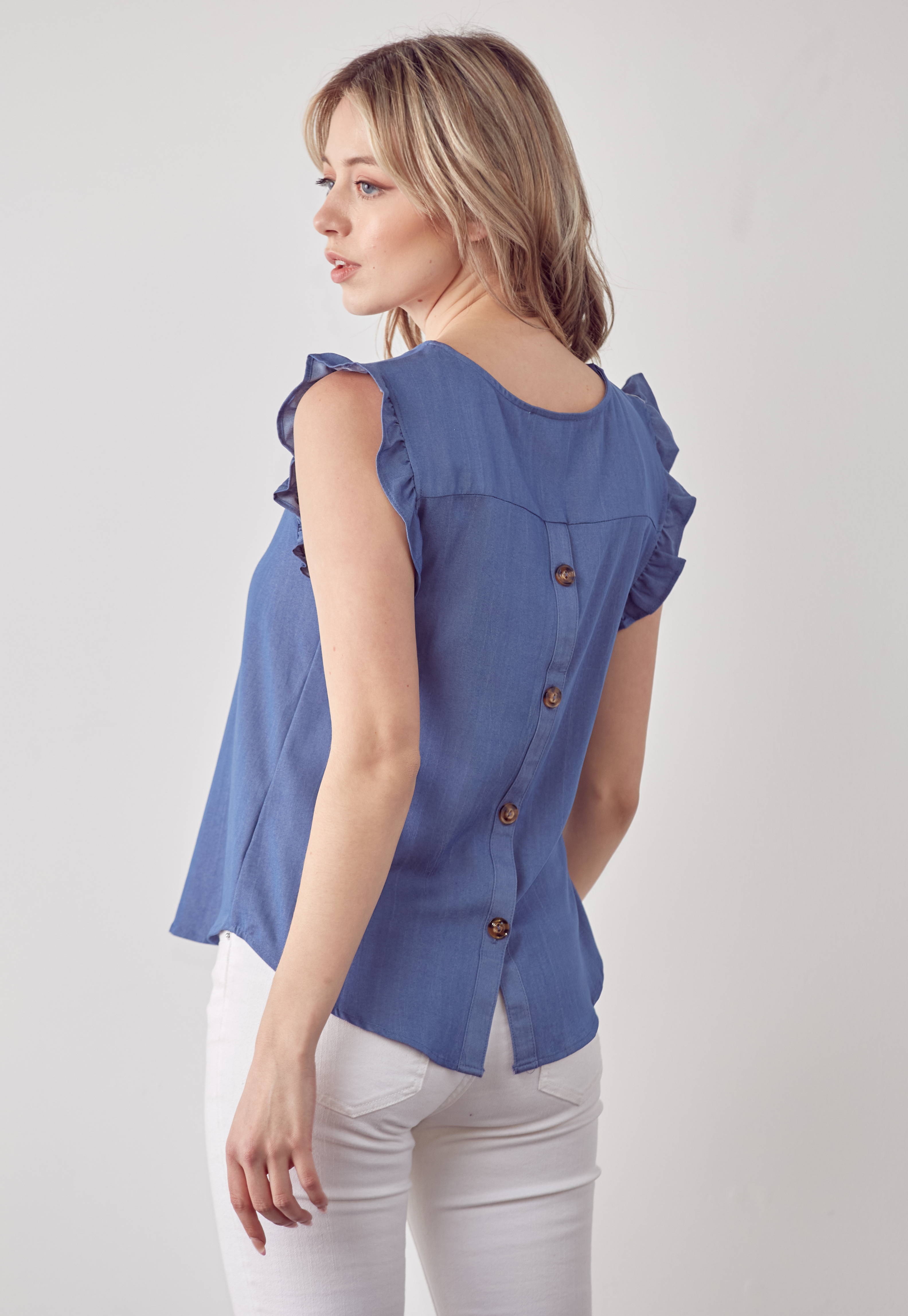 Ruffle Sleeve Back Button Top