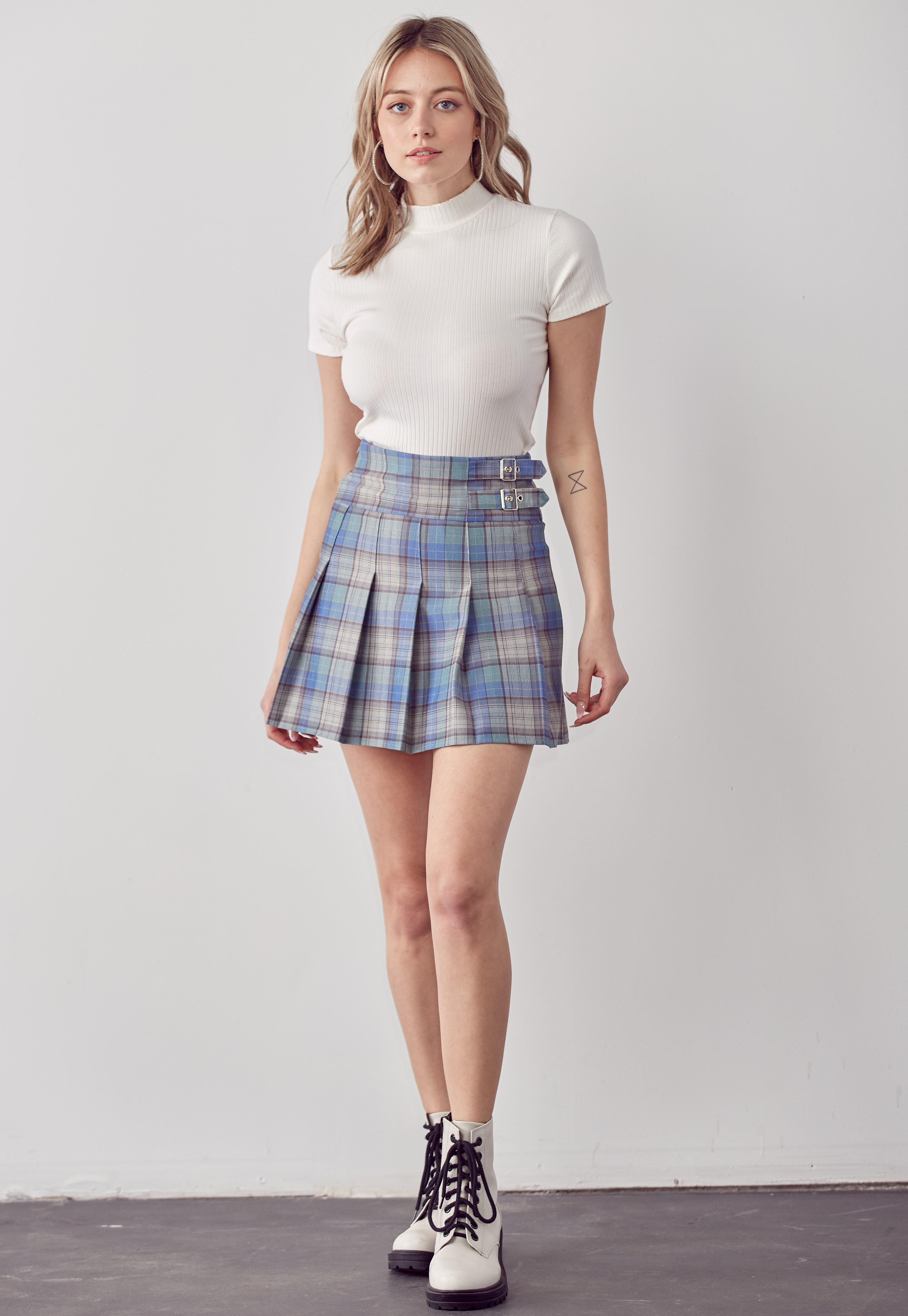 Plaid High Waisted Buckle Skirt