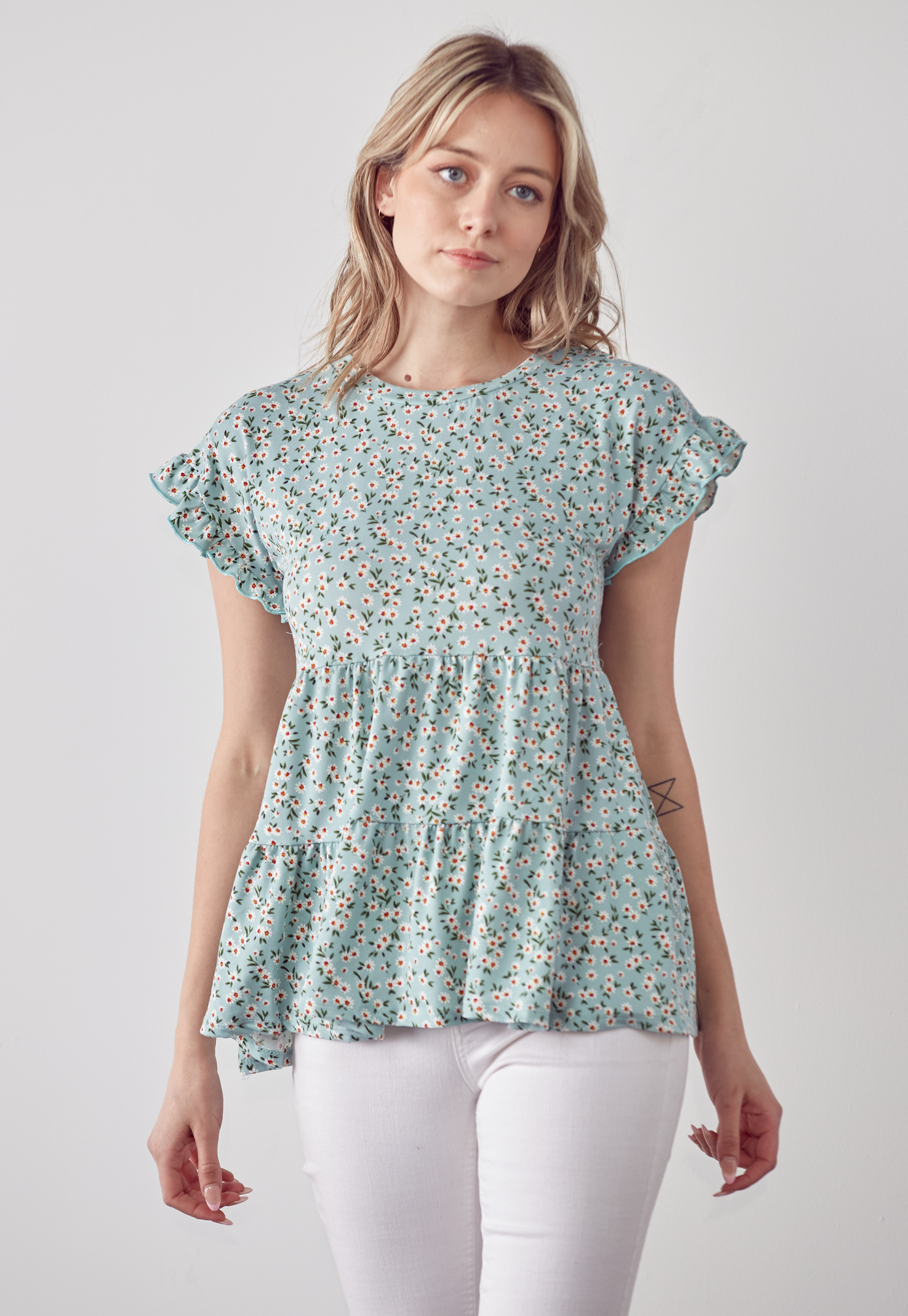 Floral Round Neck Ruffle Top