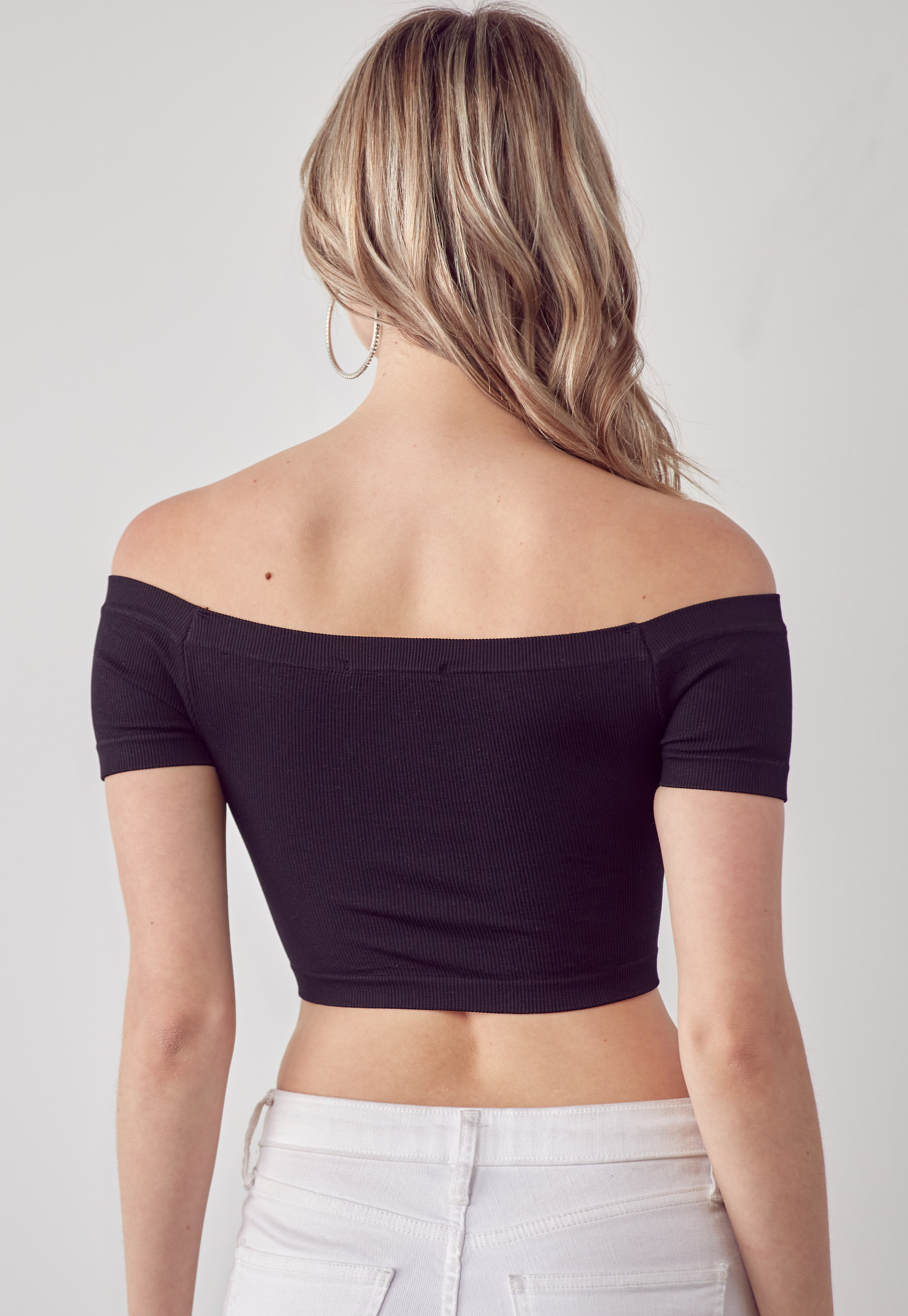 Off-Shoulder Rib Knit Crop Top
