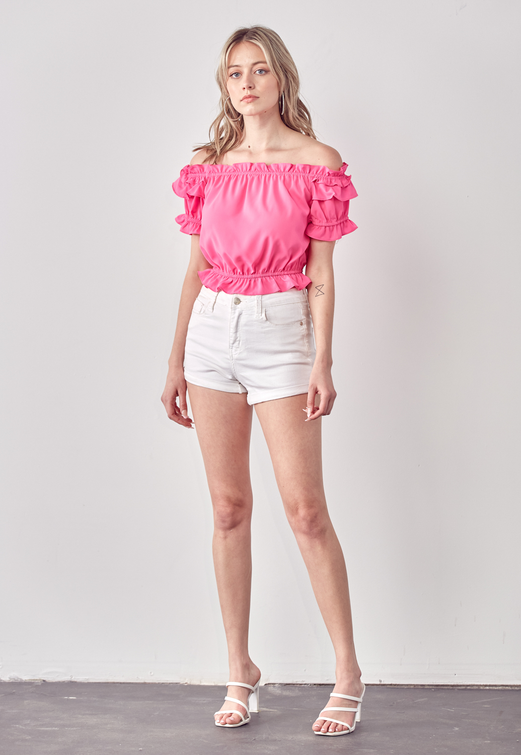 Off-Shoulder Ruffle Crop Top