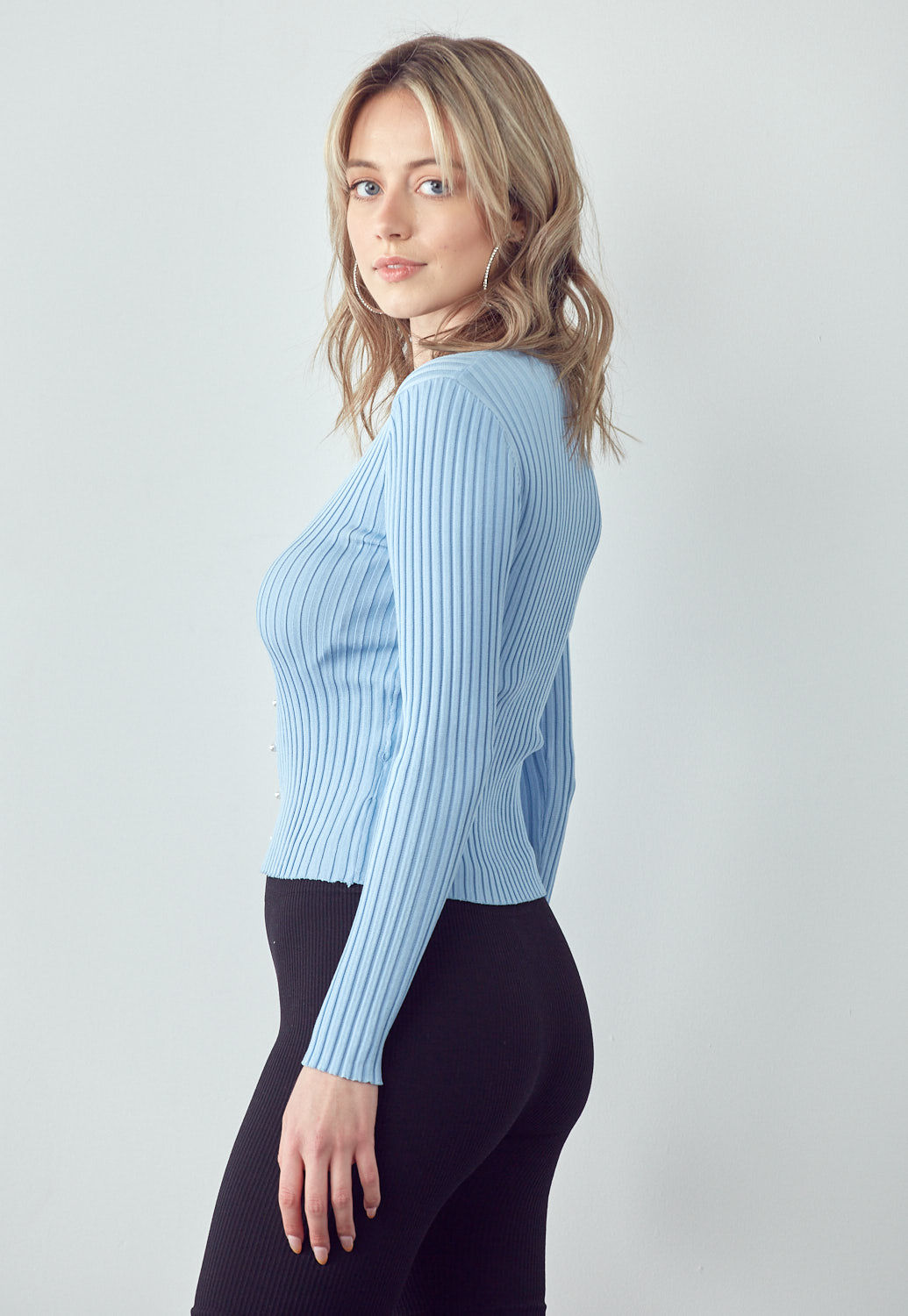 Faux Pearl Cardigan Top
