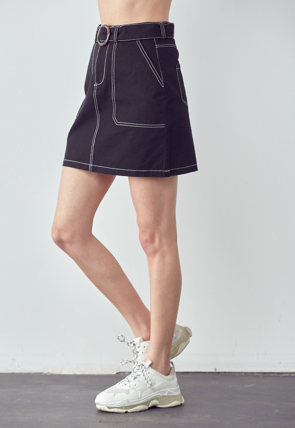 Contrast-Stitch Belted Mini Skirt