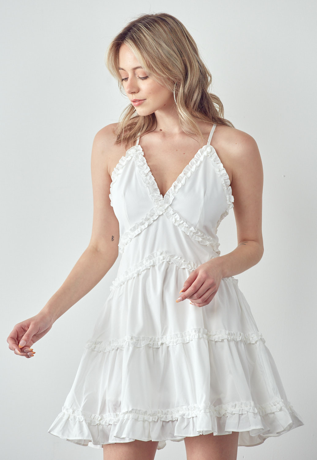 Open Back Ruffle Detail Dress