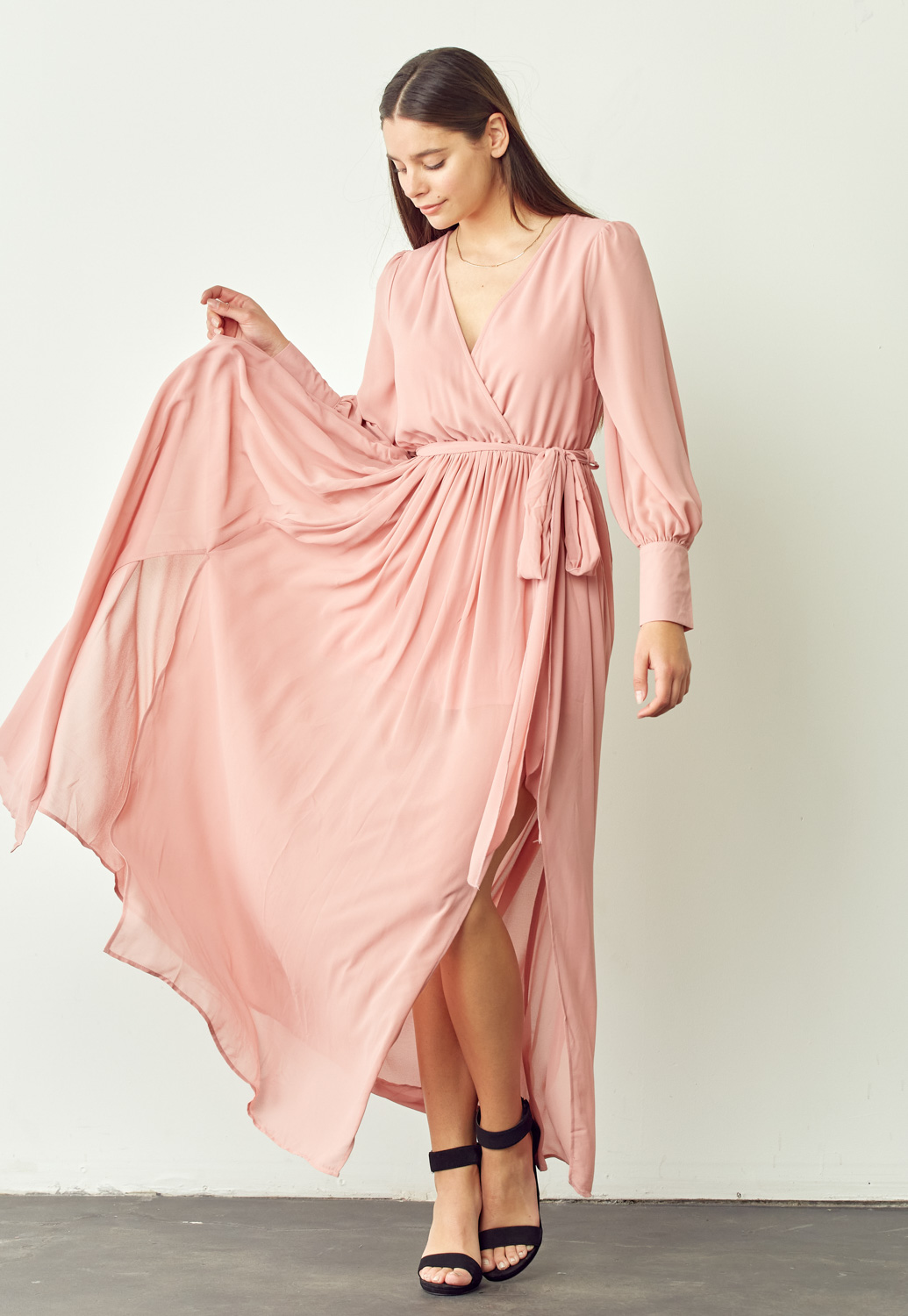 Wrap Slit Maxi Dress