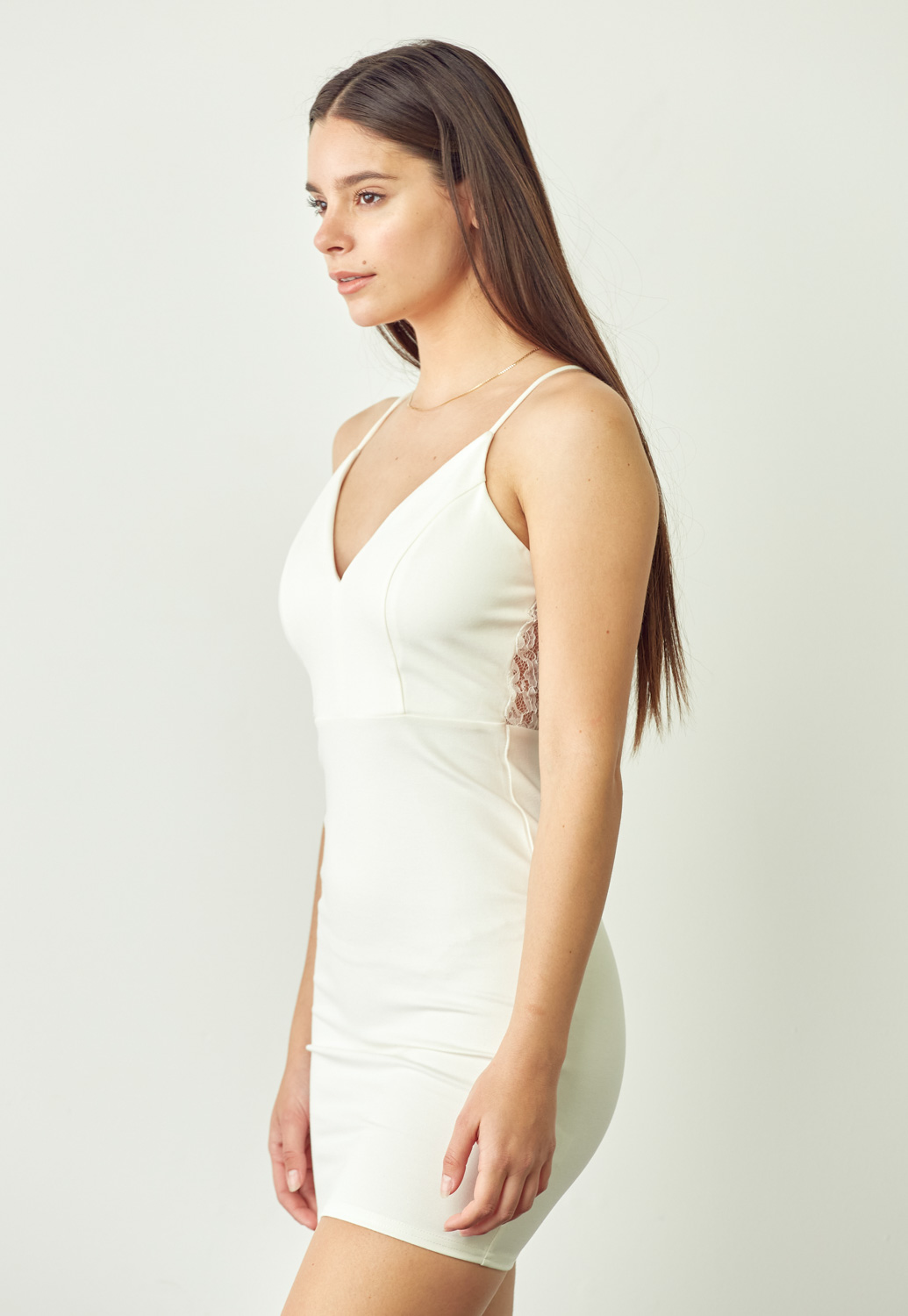 Lace Trim Slim-Fit Mini Dress