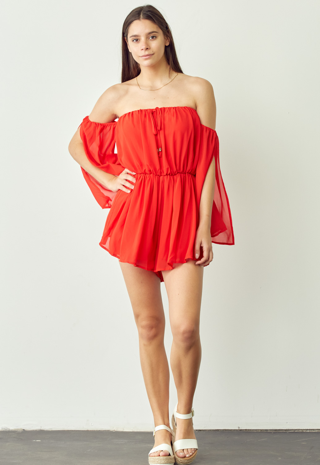 Off-Shoulder Ruffle Romper
