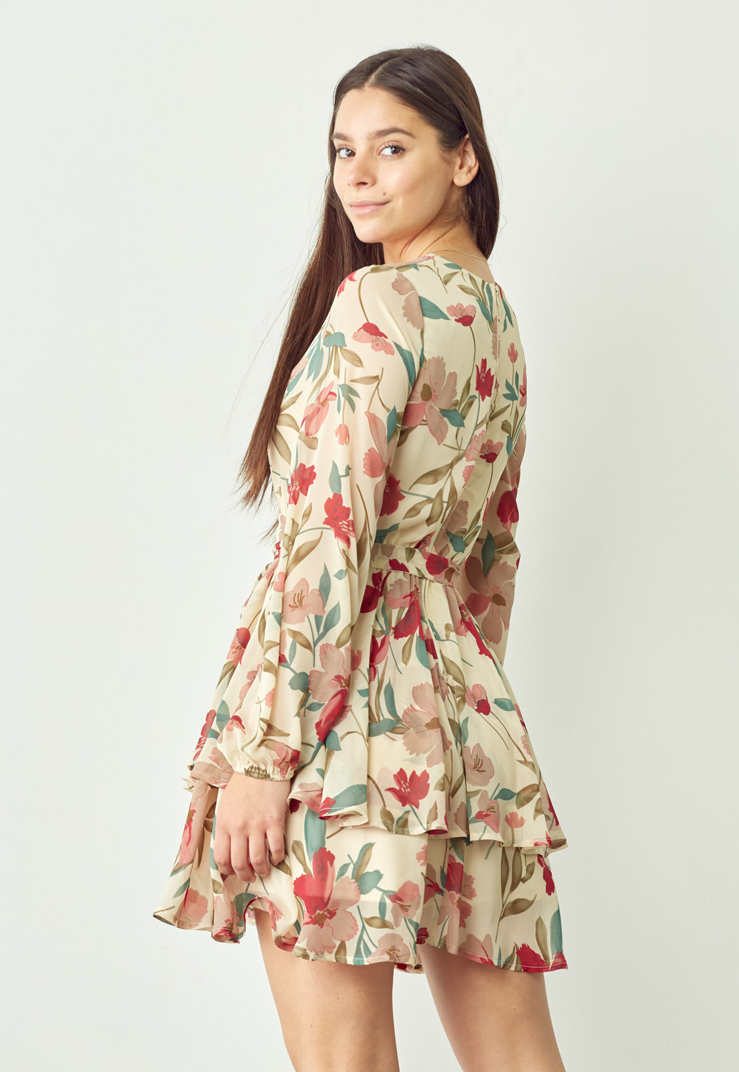 V Neck Tie Waist Floral Dress
