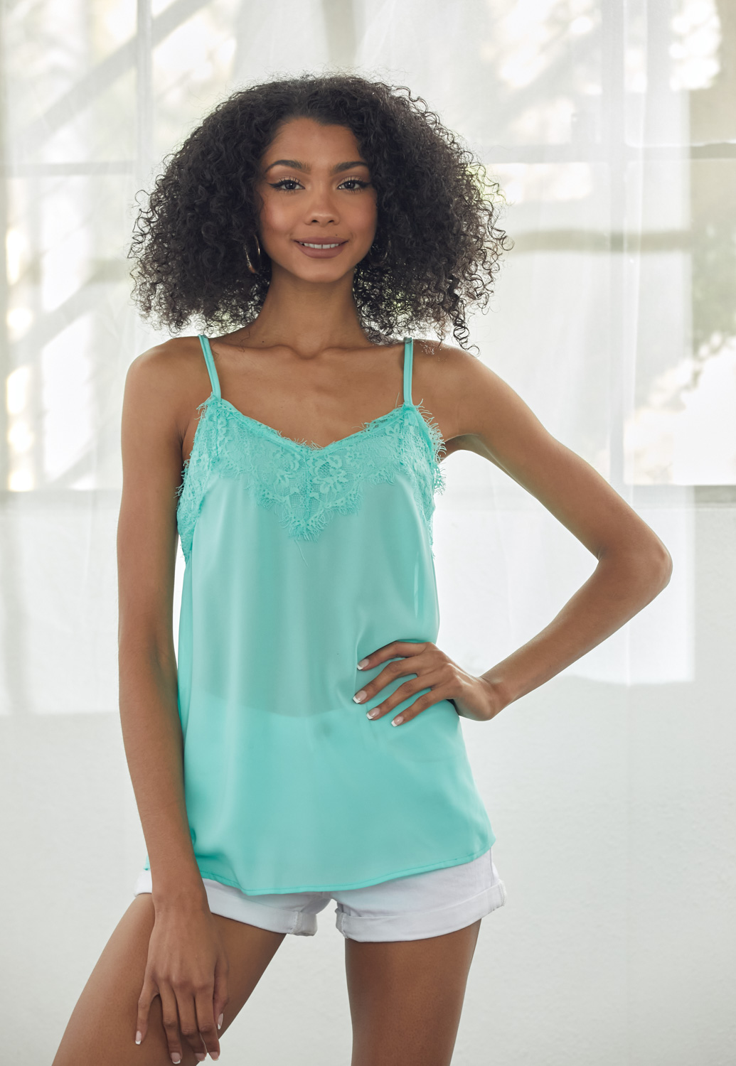 Lace Trim Cami Sheer Top