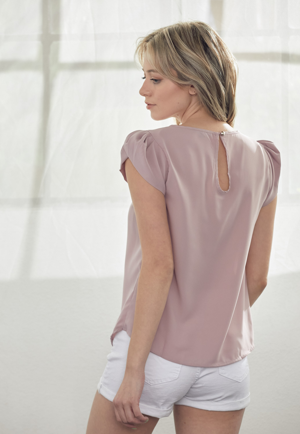 Short Sleeve Pleated Blouse