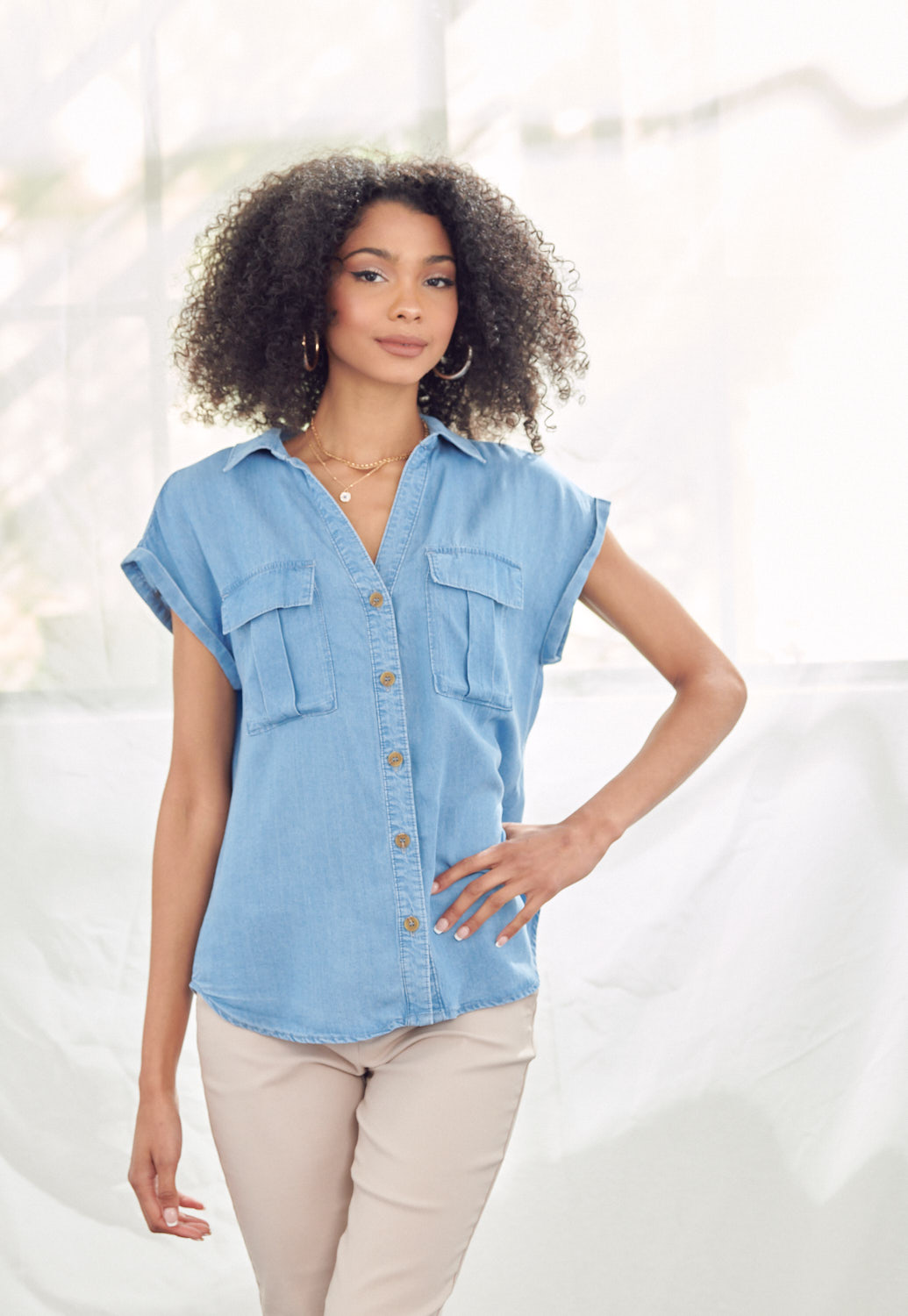 Front Pocket Roll-Up Sleeve Blouse