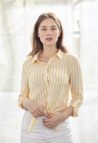 Self-Tie Front Striped Blouse