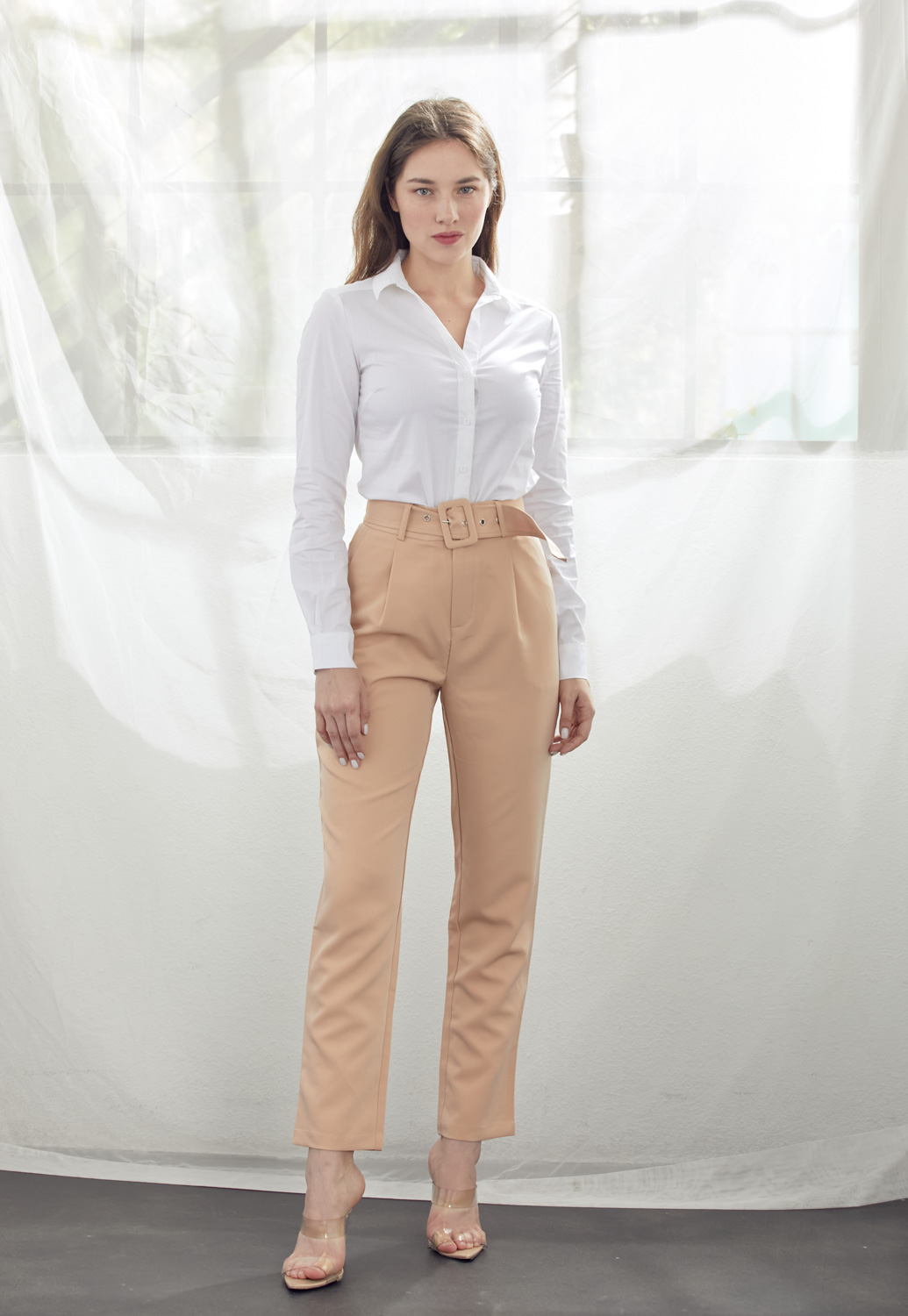 Belted Straight Pants