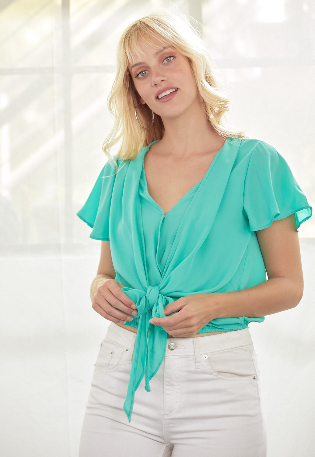 Wrap Front Tie Ruffle Sleeve Blouse