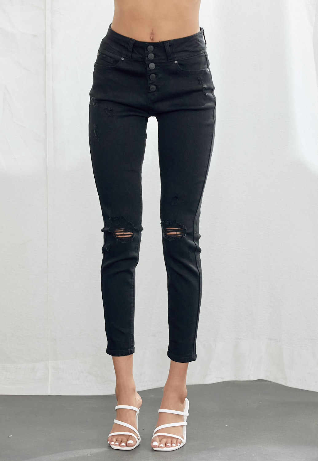 High Waist Distressed Denim
