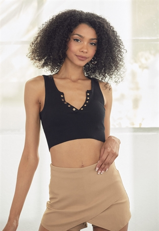 Ribbed V Neck Crop Top