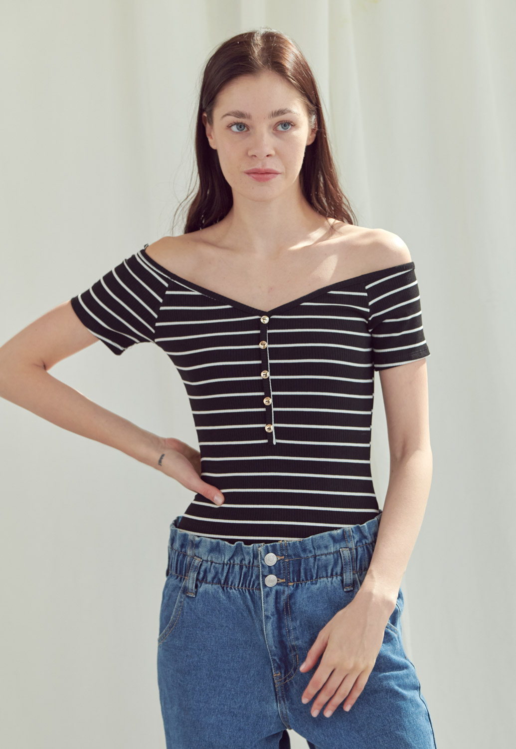 Stripe Off Shoulder Buttoned Bodysuit